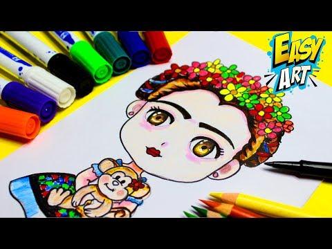 Como dibujar a Frida Kahlo, dibujos de A Frida Kahlo, como dibujar A Frida Kahlo paso a paso
