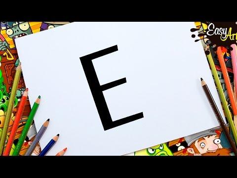 Como dibujar a partir de letras, dibujos de A Partir De La Letra E, como dibujar A Partir De La Letra E paso a paso