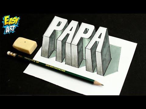 Como dibujar la palabra Papa en 3D, dibujos de A Partir De La Palabra Papa, como dibujar A Partir De La Palabra Papa paso a paso