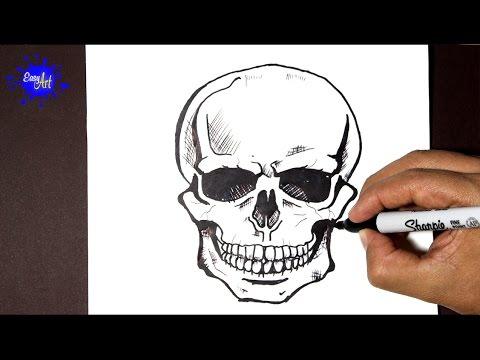 Como dibujar una terrorífica Calavera para Halloween, dibujos de Una Terrorífica Calavera Para Halloween, como dibujar Una Terrorífica Calavera Para Halloween paso a paso