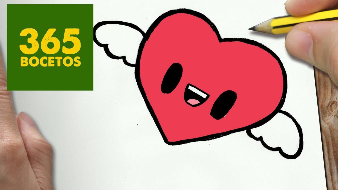 COMO DIBUJAR CORAZON KAWAII PASO A PASO - Dibujos kawaii faciles - How t -  -  -    365 dessins kawaii  Dessin kawaii  Dessins faciles, dibujos de Corazón Kawaii, como dibujar Corazón Kawaii paso a paso