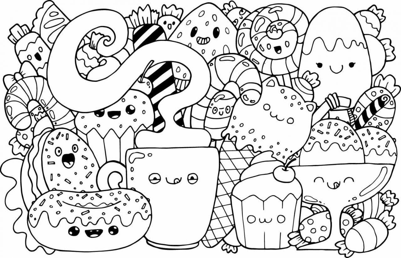 dibujos kawaii blanco y negro para colorear