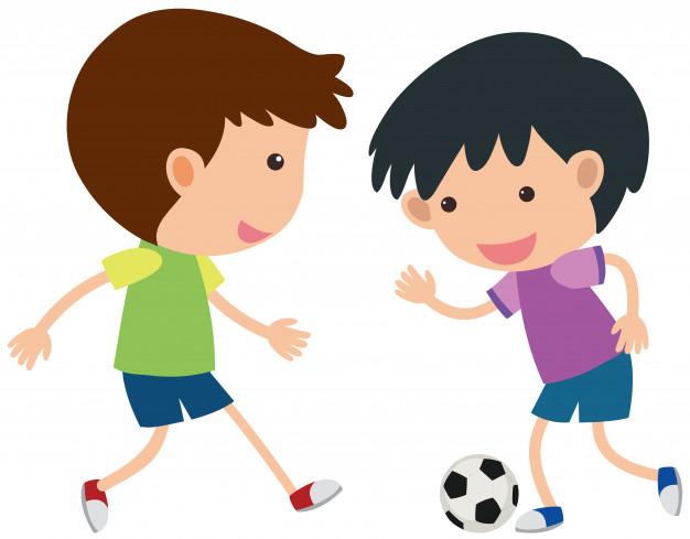 Dos niños jugando fútbol  Vector Premium, dibujos de 2 Niños Jugando, como dibujar 2 Niños Jugando paso a paso