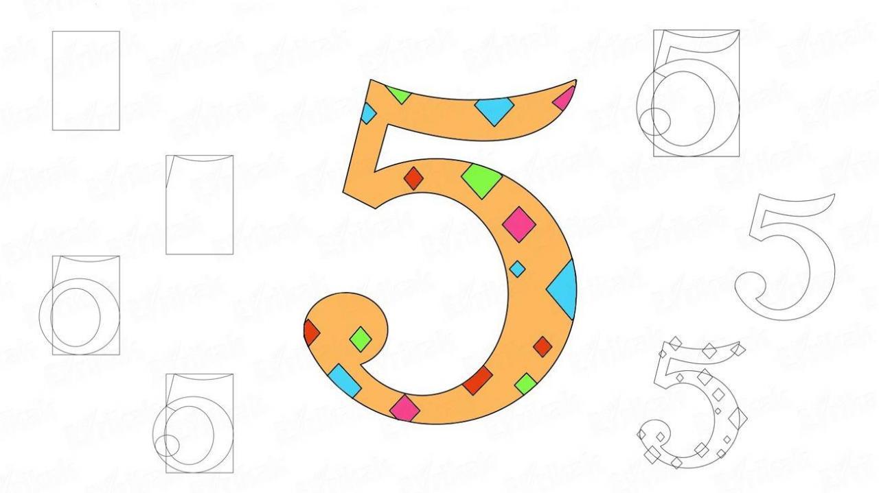 Cómo dibujar el número cinco paso a paso, dibujos de El Numero 5, como dibujar El Numero 5 paso a paso