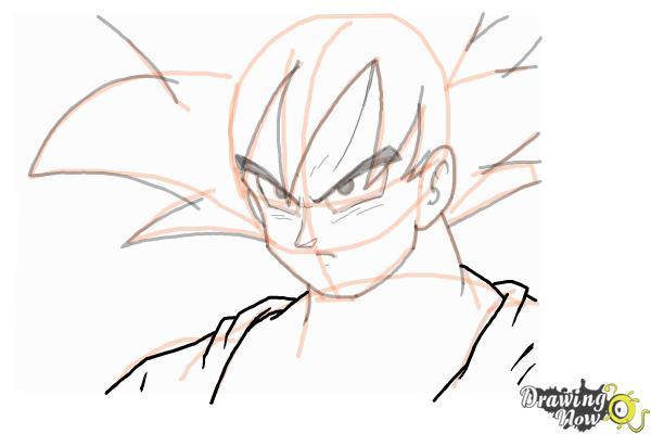 Cómo dibujar a Goku - Dragonball Z - Paso 10