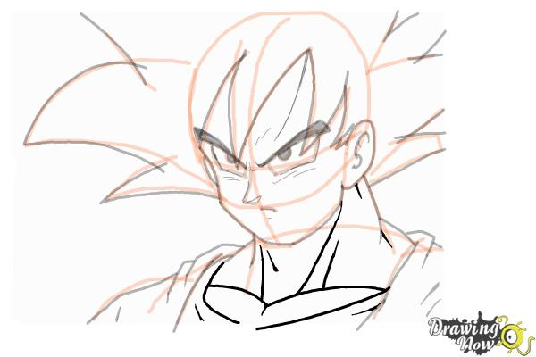 Cómo dibujar a Goku - Dragonball Z - Paso 11