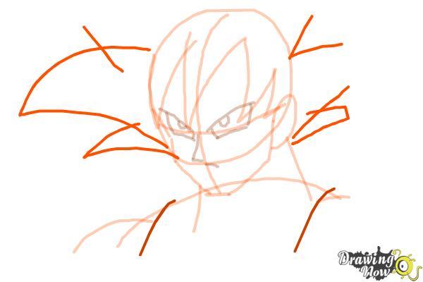 Cómo dibujar a Goku - Dragonball Z - Paso 6