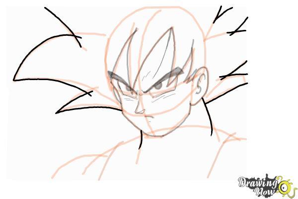 Cómo dibujar a Goku - Dragonball Z - Paso 9