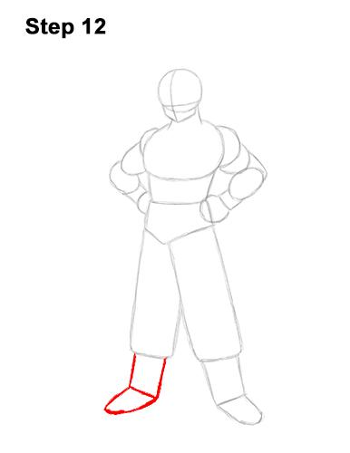 Cómo dibujar a Goku de cuerpo completo Dragon Ball Z 12