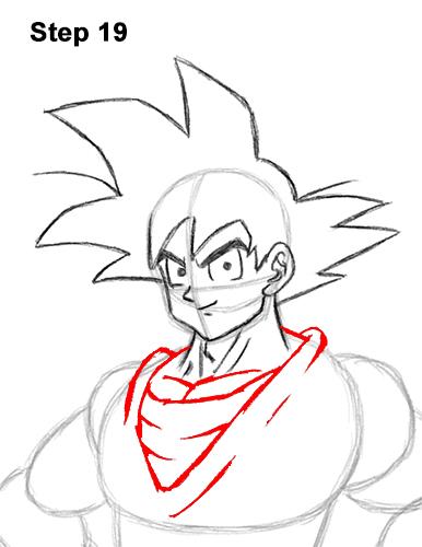 Cómo dibujar a Goku de cuerpo completo Dragon Ball Z 19