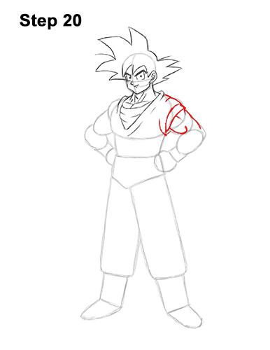 Cómo dibujar a Goku de cuerpo completo Dragon Ball Z 20