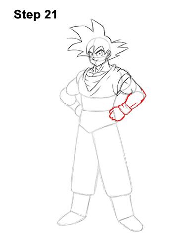 Cómo dibujar a Goku de cuerpo completo Dragon Ball Z 21