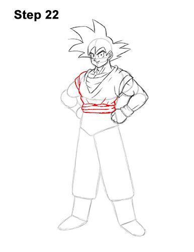 Cómo dibujar a Goku de cuerpo completo Dragon Ball Z 22