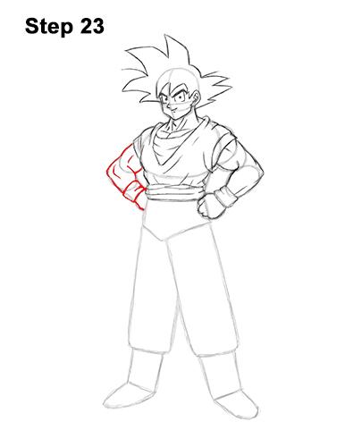 Cómo dibujar a Goku de cuerpo completo Dragon Ball Z 23