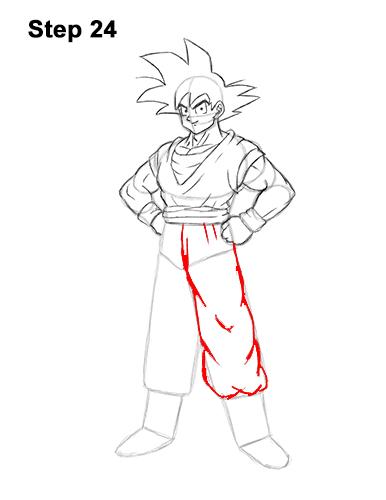 Cómo dibujar a Goku de cuerpo completo Dragon Ball Z 24