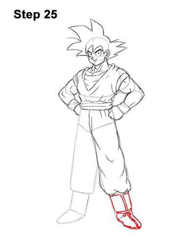 Cómo dibujar a Goku de cuerpo completo Dragon Ball Z 25