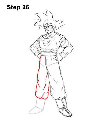 Cómo dibujar a Goku de cuerpo completo Dragon Ball Z 26