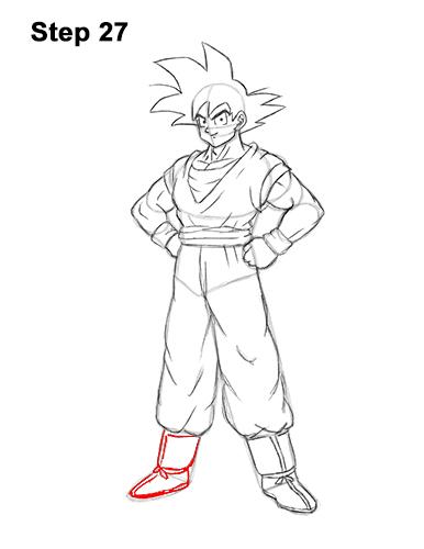 Cómo dibujar a Goku de cuerpo completo Dragon Ball Z 27