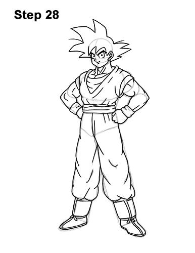 Cómo dibujar a Goku de cuerpo completo Dragon Ball Z 28