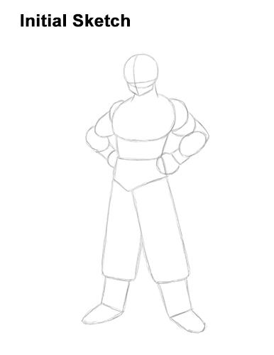 Cómo dibujar las líneas de guía de Dragon Ball Z de cuerpo completo de Goku