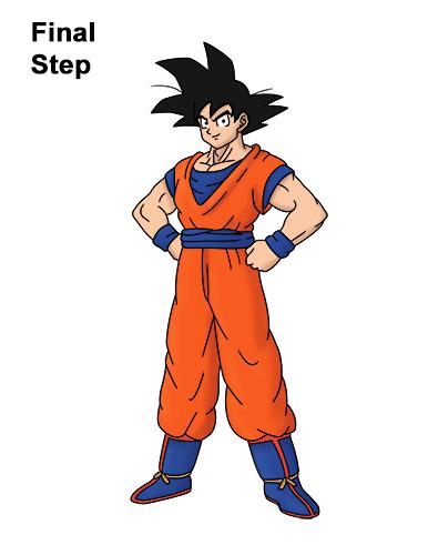 Cómo dibujar a Goku de cuerpo completo Dragon Ball Z