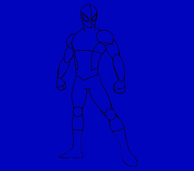 Cómo dibujar Spiderman: Paso 14
