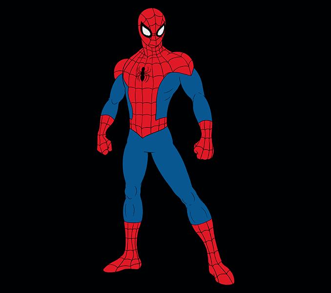 Cómo dibujar Spiderman: Paso 20