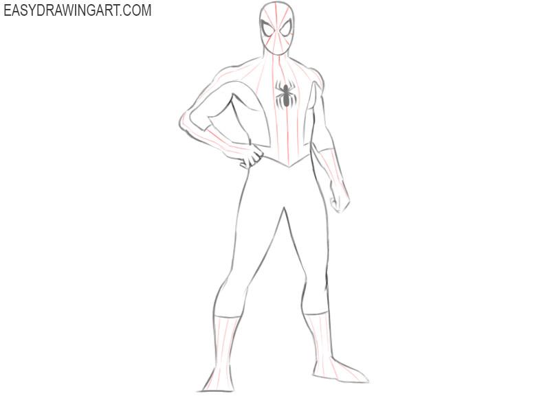 como dibujar a spiderman pasos sencillos