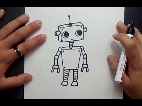 Como dibujar un robot paso a paso 5  How to draw a robot 5, dibujos de Robots, como dibujar Robots paso a paso