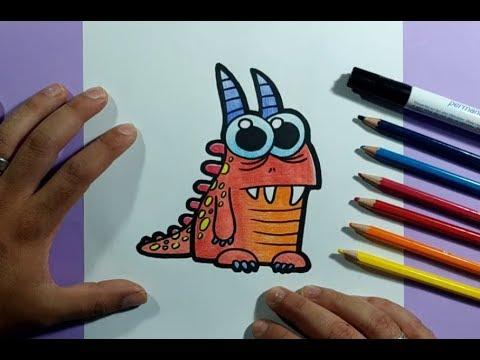 Como dibujar un monstruo paso a paso 20 How to draw a monster 20, dibujos de Monstruos, como dibujar Monstruos paso a paso