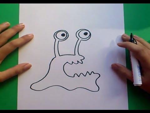 Como dibujar un monstruo paso a paso 2 How to draw a monster 2, dibujos de Monstruos, como dibujar Monstruos paso a paso