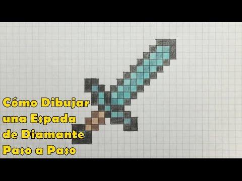 Cómo Dibujar una Espada de Diamante 8-bit Minecraft! Tutorial PASO A PASO, dibujos de Minecraft, como dibujar Minecraft paso a paso