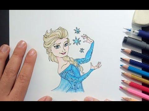 Cómo dibujar a Elsa de Frozen Tutorial de dibujo paso a paso, dibujos de Frozen, como dibujar Frozen paso a paso
