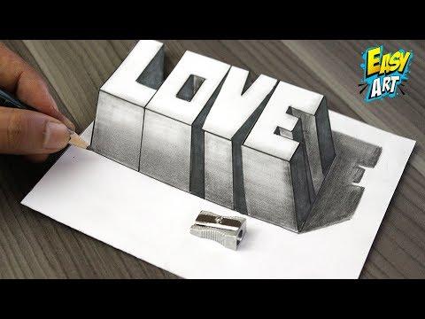 Como Dibujar AMOR 3D ( Letras Cuadradas )❤️ How to Draw LOVE 3D - Dibujos de Faciles - Easy Art - YouTube, dibujos de En 3D, como dibujar En 3D paso a paso