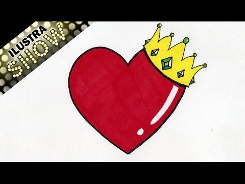Como Dibujar Un Corazon con Corona - Rey - Corazones - Tutorial - ILUSTRA SHOW, dibujos de Corazones, como dibujar Corazones paso a paso