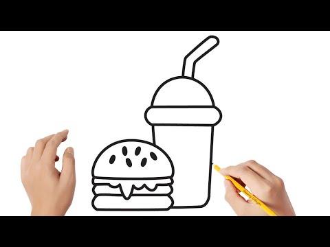 Cómo dibujar comida rápida Dibujos sencillos - YouTube, dibujos de Comida, como dibujar Comida paso a paso