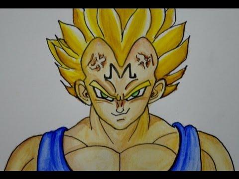 COMO DIBUJAR A VEGETA (Majin  de Dragon ball), dibujos de A Vegeta Majin De Dragon Ball Z, como dibujar A Vegeta Majin De Dragon Ball Z paso a paso