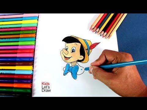 Cómo dibujar a Pinocho paso a paso, dibujos de A Pinocho, como dibujar A Pinocho paso a paso