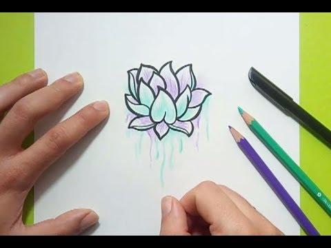 Como dibujar una flor de loto paso a paso  How to draw a lotus flower, dibujos de Una Flor De Loto, como dibujar Una Flor De Loto paso a paso