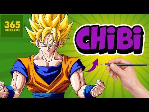 COMO DIBUJAR A GOKU SUPER SAIYAN ESTILO CHIBI - DRAGON BALL CHALLENGE -  YouTube, dibujos de A Gokú Estilo Chibi, como dibujar A Gokú Estilo Chibi paso a paso