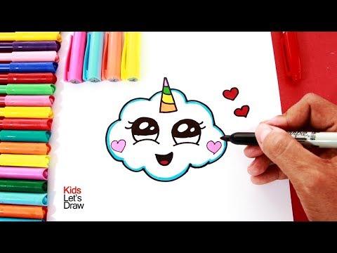 Cómo dibujar una NUBE UNICORNIO  How to draw a cute unicorn cloud - 2 -  YouTube, dibujos de Un Unicornio Cute, como dibujar Un Unicornio Cute paso a paso