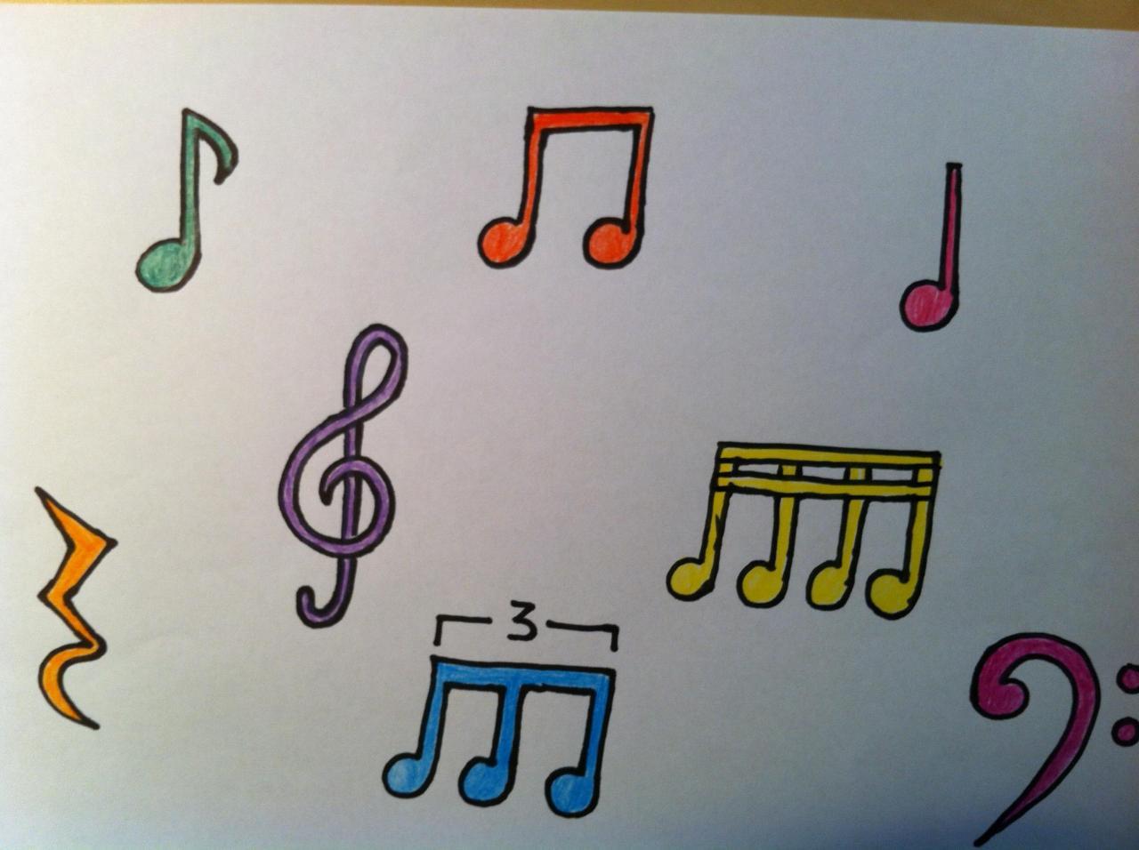 Notas musicales de colores, dibujos de Notas Musicales, como dibujar Notas Musicales paso a paso