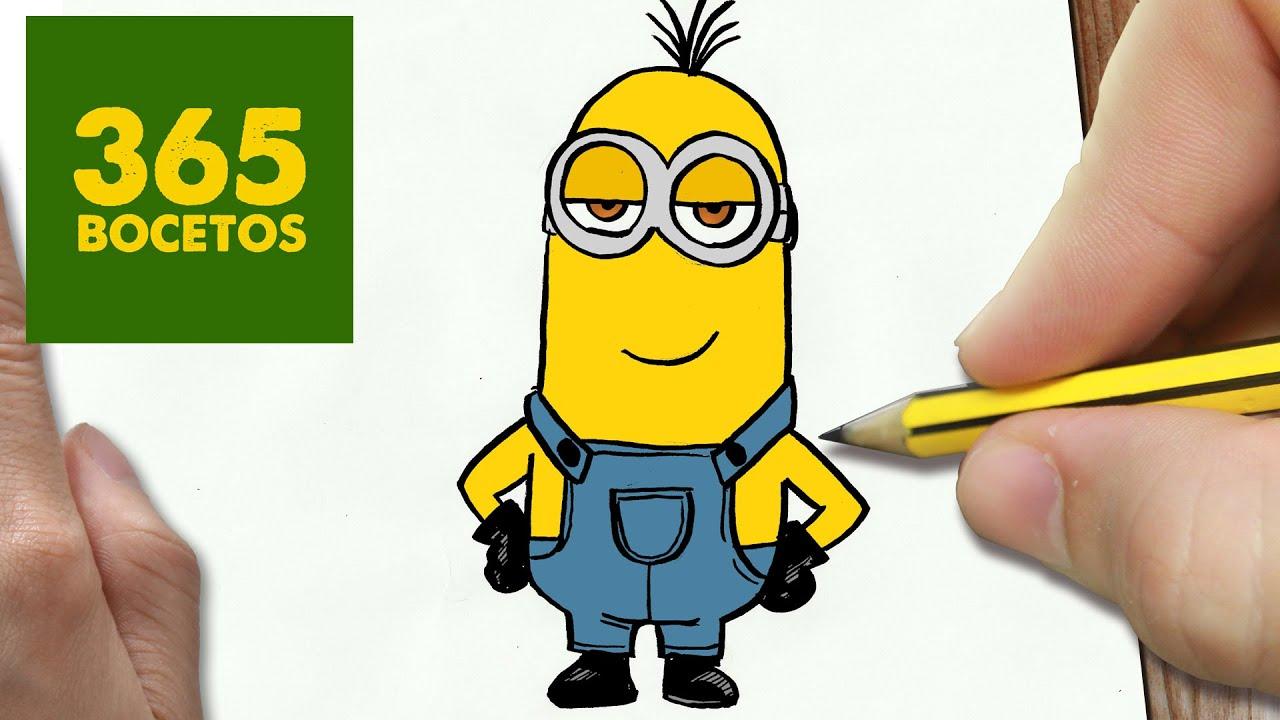 COMO DIBUJAR KEVIN DE LOS MINIONS KAWAII PASO A PASO - Dibujos kawaii faciles -draw a Minions, dibujos de Minions, como dibujar Minions paso a paso