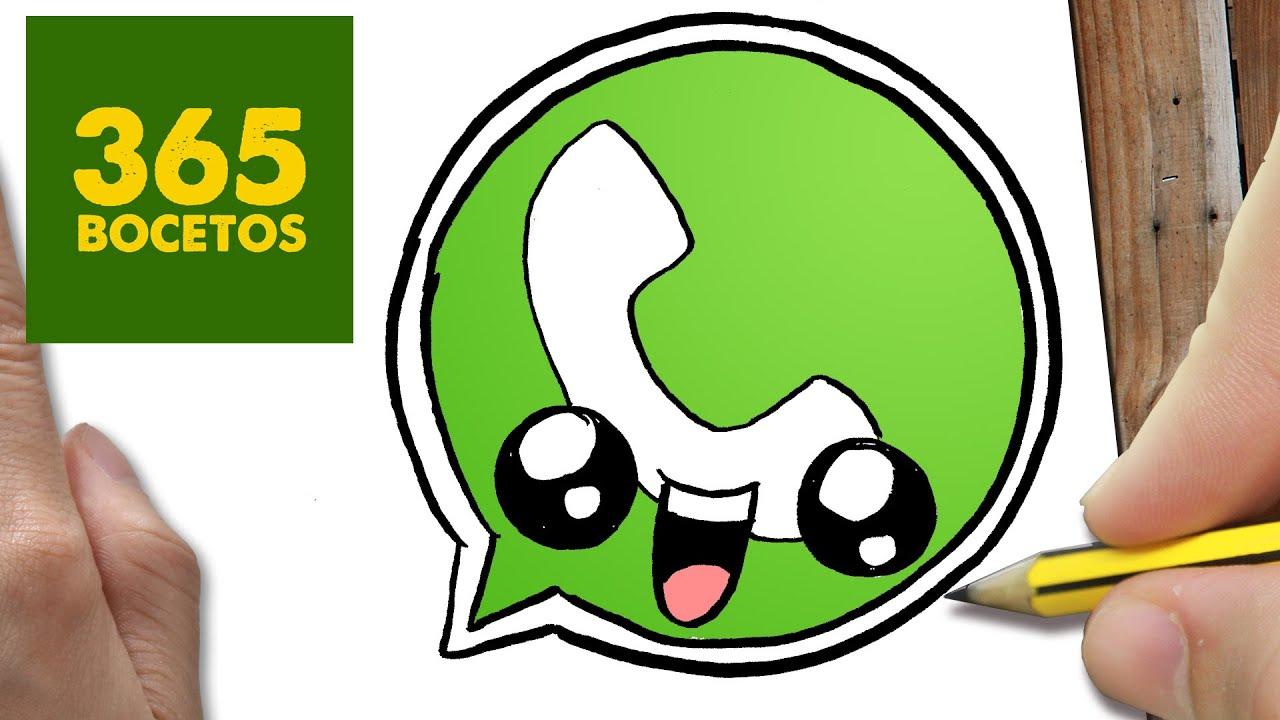 COMO DIBUJAR LOGO WHATSAPP KAWAII PASO A PASO - Dibujos kawaii faciles - How to draw a Logo Whatsapp, dibujos de Logos, como dibujar Logos paso a paso