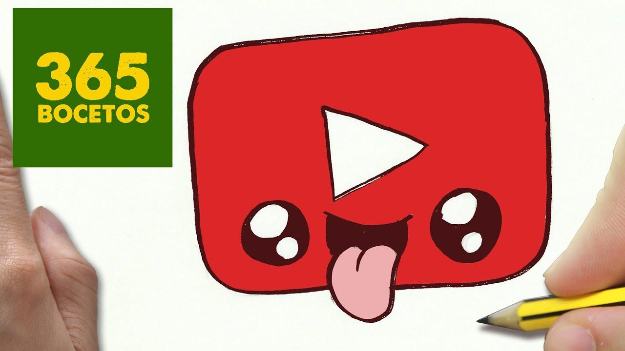 COMO DIBUJAR LOGO YOUTUBE KAWAII PASO A PASO - Dibujos kawaii faciles - How to draw a logo YOUTUBE, dibujos de Logos, como dibujar Logos paso a paso
