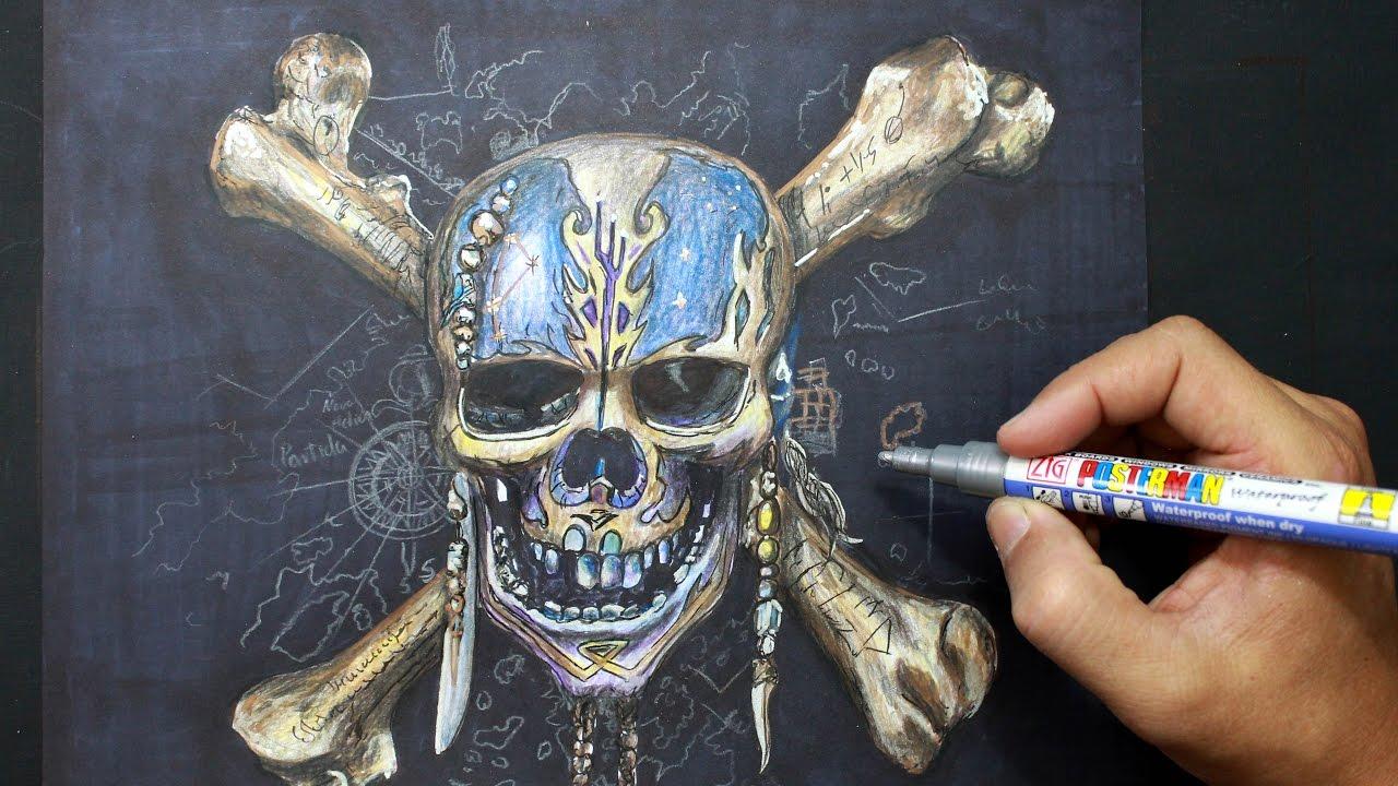 Pirates of the Caribbean - Drawing pirate skeleton - Dibujando esqueleto  Piratas del Caribe, dibujos de La Calavera De Piratas Del Caribe, como dibujar La Calavera De Piratas Del Caribe paso a paso