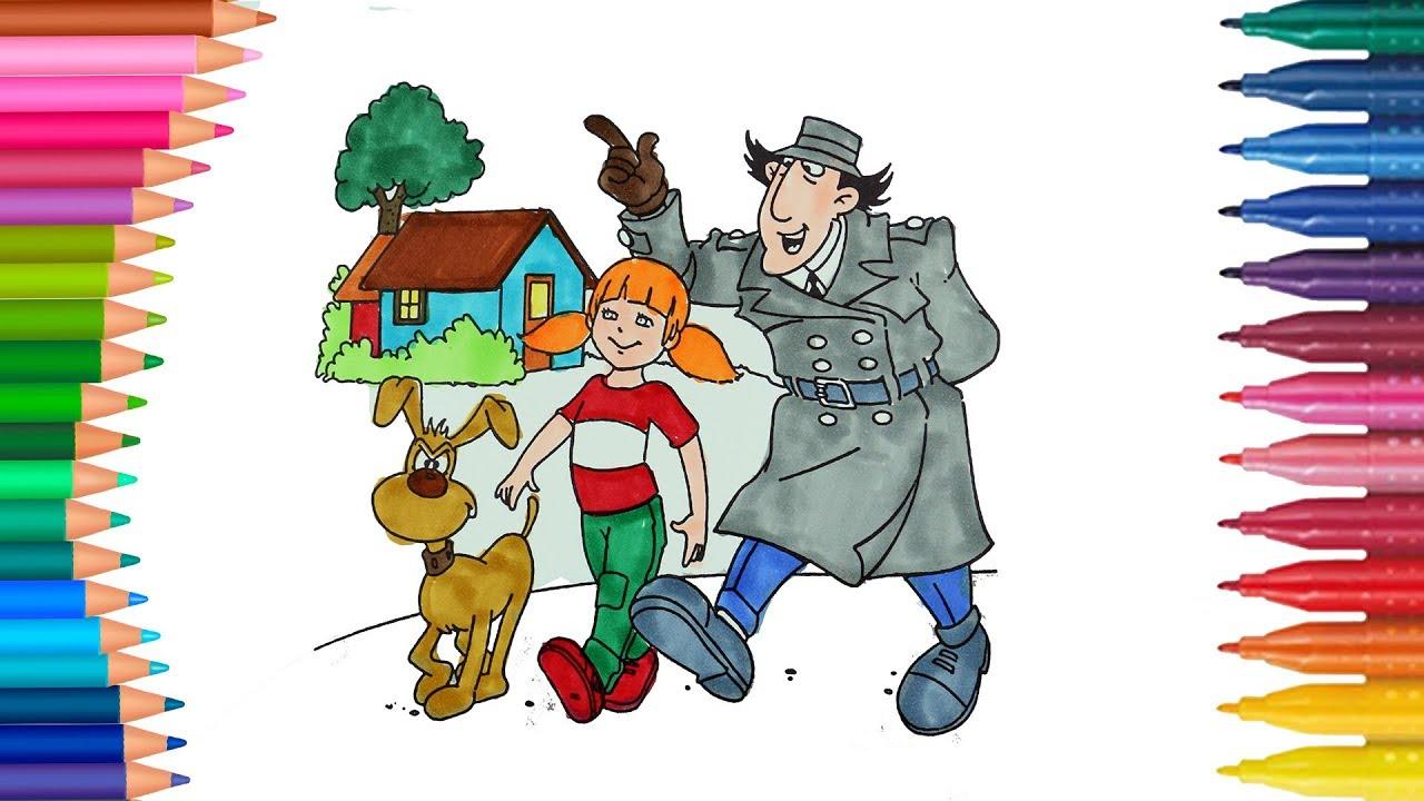 Dibujar y Colorea Inspector Gadget  Dibujos Para Niños  Learn Colors, dibujos de Inspector Gadget, como dibujar Inspector Gadget paso a paso