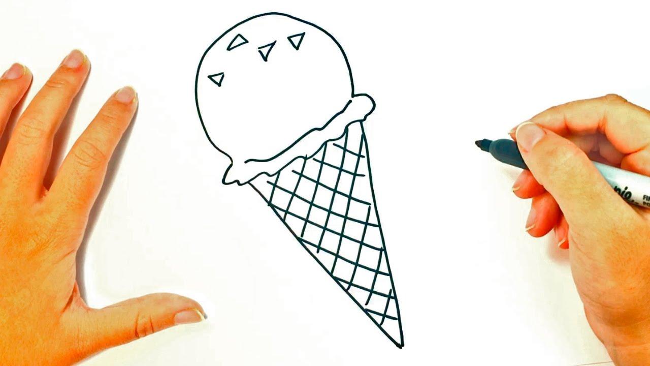 Cómo dibujar un Helado para niños Dibujo de Helado paso a paso, dibujos de Helados, como dibujar Helados paso a paso