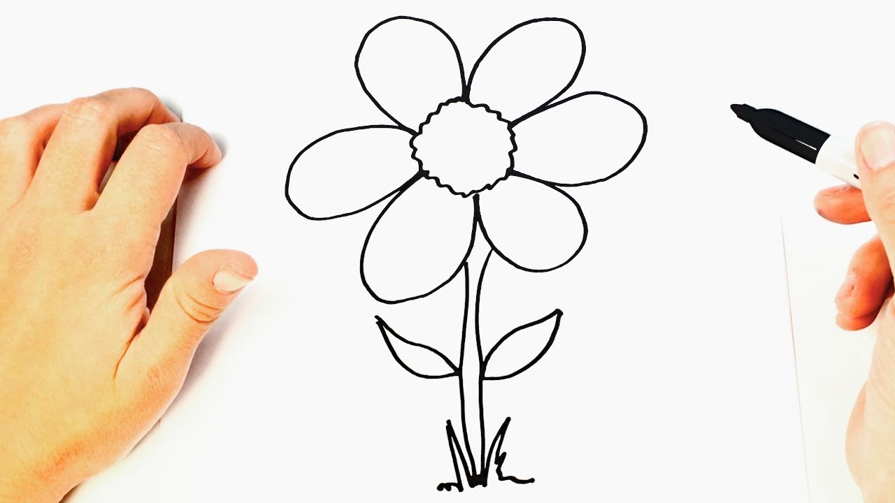 Como dibujar una Flor Bonita de Forma Fácil y Rápida -, dibujos de Flores Sencillas, como dibujar Flores Sencillas paso a paso