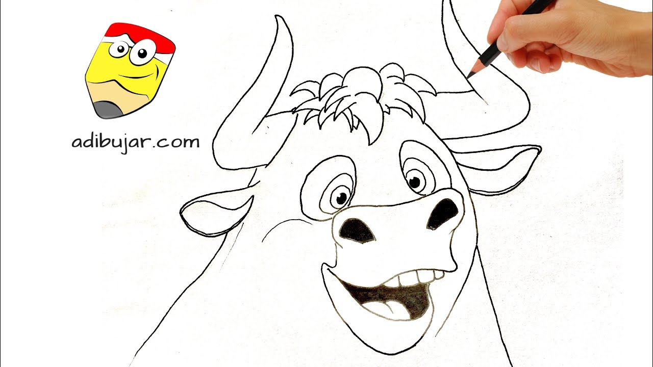 Ferdinand: Cómo dibujar a Ferdinand (toro) a lápiz fácil paso a paso  How  to draw Ferdinand (Bull), dibujos de Ferdinand, como dibujar Ferdinand paso a paso